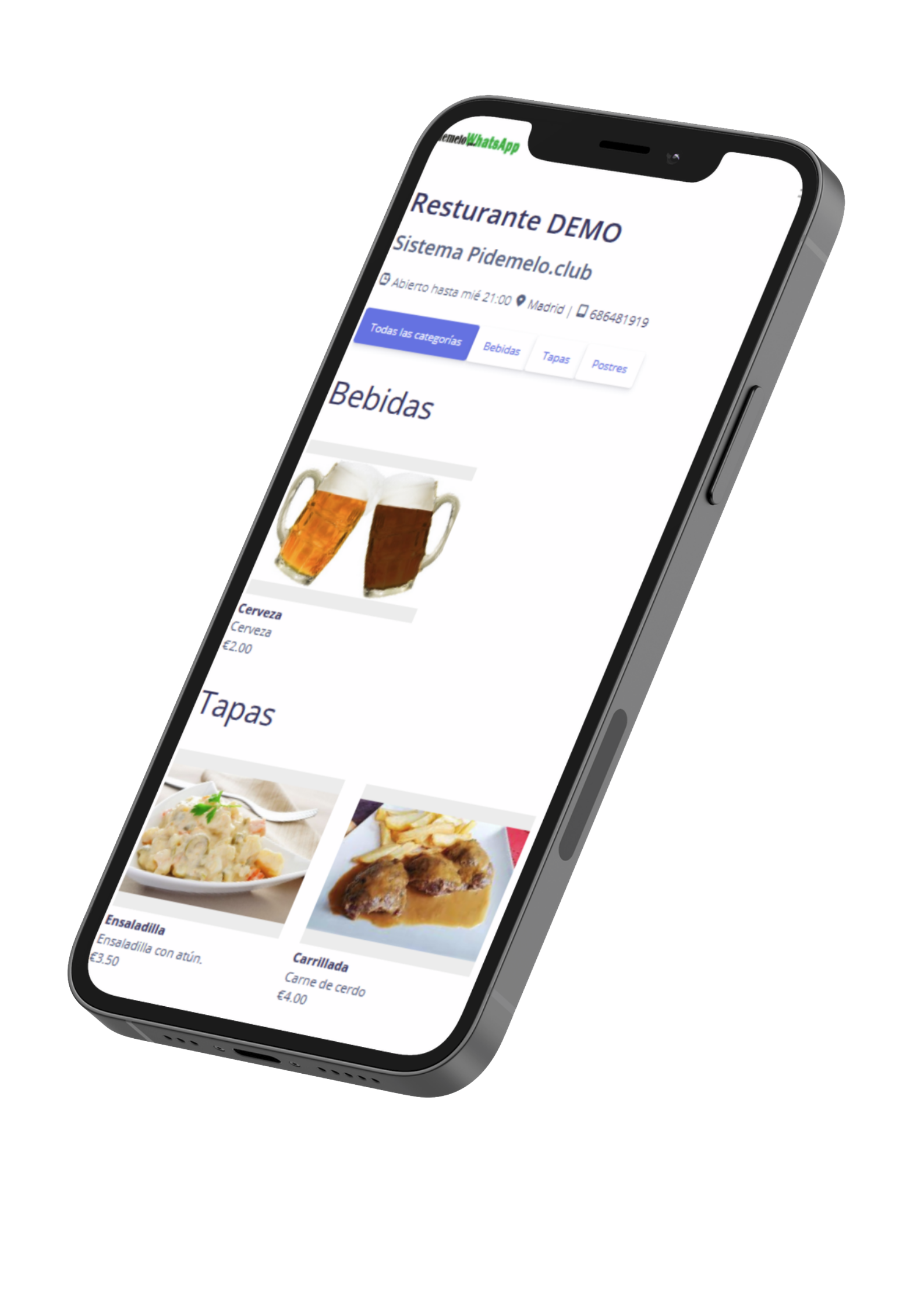 menu whastapp